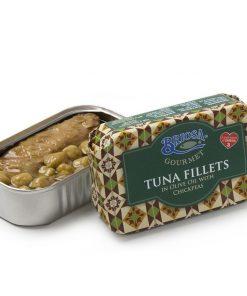 Filet z tuńczyka w oliwie z oliwek z ciecierzycą 120g